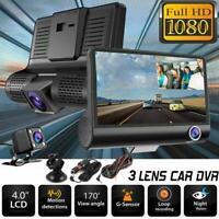 """1080P 4"""" Dual Lens HD Car DVR Rearview Video Dash Cam Recorder Camera G-sensor L"""