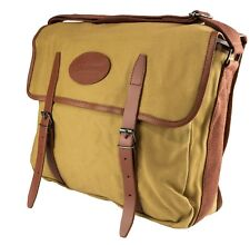TRADITIONAL FAWN CANVAS & LEATHER FISHING COUNTRY LARGE MESSENGER SHOULDER BAG