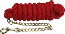 Red 10' Western Braided Cotton Lead w/ Brass Chain & Snap! New Horse Tack!