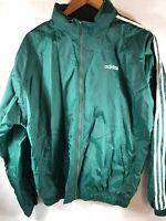 Vtg 90s Adidas Windbreaker Jacket Men's Large Green Stripe Arm Lightweight