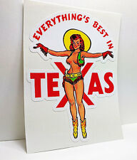 Texas Cowgirl Pinup Vintage Style Travel Decal / Vinyl Sticker, Luggage Label
