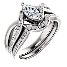 Ring Set 14k White Gold Over 1.40 Carat Marquise Cut Diamond Twist Engagement