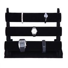 Black 3-Tier Velvet Watch/Bracelet Jewellery Display Organizer Stand Holder