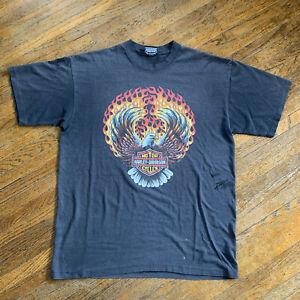 Vintage 90s Harley Davidson Eagle Flames T Shirt Men Size XL Travis Scott Biker