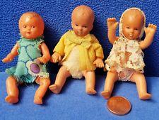 3 PUPPEN BABYS 7 CM PUPPENHAUS PUPPENSTUBE BABY KINDER VINTAGE DOLL
