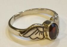 Sterling Silver Niello Garnet Wing Mount Ring Size N
