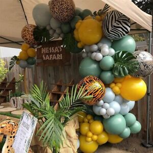 Coffee Green Latex Balloon Garland Arch Kit Jungle Animal Birthday Party Decor