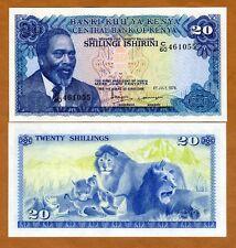 Kenya, 20 Shillings, 1978, P-17, UNC > Lions