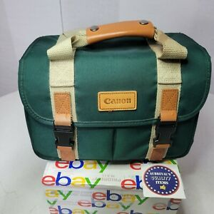 Vintage Canon Camera Bag for DSLR Camera Green w/ Pockets NO Shoulder Strap
