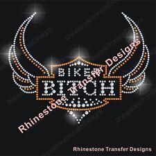 "Rhinestone Transfer ""Harley Davison Biker Bitch"" New Hotfix , Iron On, Bling"