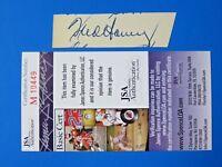 FRED HANEY SIGNED 1x3 CUT INDEX CARD ~ 1957 BRAVES (D. 1977) ~ JSA M10449