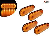 12v Led Oval Clearance Amber Side Marker Lights Position Truck Trailer Lorry X4