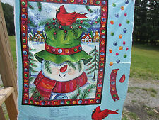 Springs Happy Snowman Quilting Christmas Red Cardinal Cotton Panel Blue Crafting