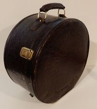 Vintage Ladies Brown Leather Round Train Travel Case Suitcase