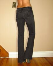 Seven 7 For All Mankind $179 A-Pocket Flare Jeans Dark Charcoal Off-Black 24 XXS