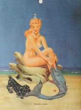 BILL LAYNE vintage PINUP Girl calendar page SCALED DOWN 1940s original MERMAID
