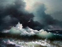 Dream-art Oil painting seascape ocean waves sea birds before storm canvas 24x36""