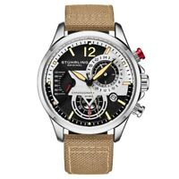 Stuhrling 908 01 Aviator Quartz Chronograph Date Beige Leather Mens Watch