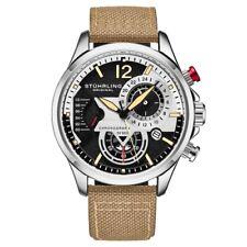 Stuhrling 908 01 Aviator Quartz Chronograph Date Beige Leather Mens Watch