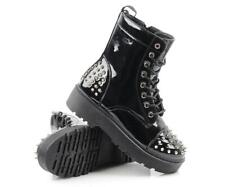 WOMEN SPIKES PUNK GOTH BIKER CHUNKY PLATFORM STUDDED ANKLE BOOTS