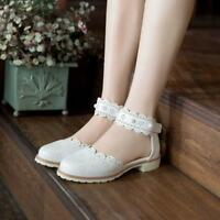 Sweet Womens Lolita Lace Floral Belt Low Heels Pearls Mary Janes Round Toe Shoes