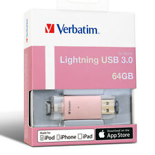 ($0 p&h) Verbatim 64gb  Extended Memory Storage for iPhone iPad  Gold 65079