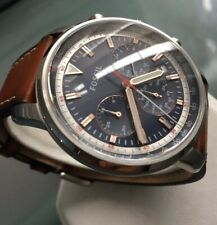 Mens Genuine Fossil Goodwin Chronograph Navy Blue Designer Watch Leather FS5414