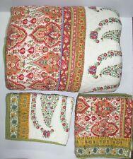 "Pottery Barn (5) Piece Comforter Set ~ Orange Red Green ~ 102"" x 96"" King"
