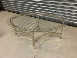Good Quality Oval Coffee Table on a Brass Base