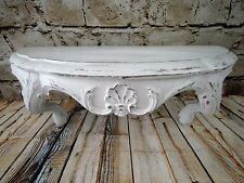 ~LOVELY VINTAGE CHIPPY WHITE FRENCH INSPIRED WALL SHELF BED CROWN! COTTAGE CHIC