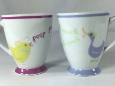 Two Starbucks Easter Coffee Mugs Cups Chick Duck Peep Quack 2007 7 Oz. Pastel