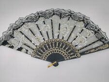 Spanish style laced rose flower design plastic frame Silk hand folding fan