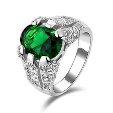Men's Fashion Jewelry Emerald Cut Emerald 18K Gold Filled Wedding Ring Size 11