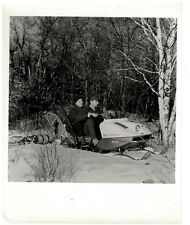 1960s Vintage B&W y Photo Evinrude Skeeter Snowmobile Snowshoes & Toboggin