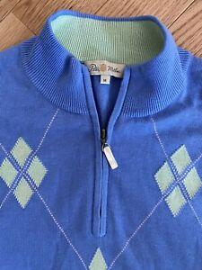 Peter Millar Crown golf Men's Medium Silk, Cashmere, Cotton 1/4 Zip Vest argyle