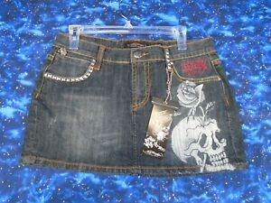 Ed Hardy Dark Wash Skull Rose Mini Skirt Size 30 NWT