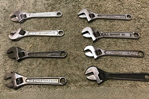 Lot of Vintage USA 4 inch Adjustable Wrenches - CRAFTSMAN PROTO  WILLIAMS UTICA