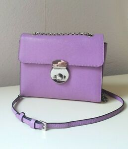 COCCINELLE Original Echtleder Tasche Saffiano-Optik Bearbeitung Minibag Lila Neu