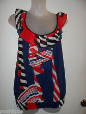 bebe XS Top 100% Silk Red White Blue Ruffle Patriotic Summer 4th of July Party