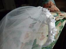 First Communion White Braided Ribbon Headband Veil w/ Rhinestone Center Flowers