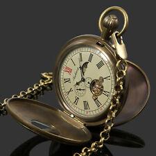 Case Tourbillon Vintage Chain Luxury Mens Pocket Watch Mechanical Copper Retro