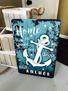 Home Is Where We Anchor - 8x12 Metal Sign - Beach Decor - Home Decor