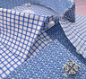 New Blue Mini Gingham Checkered Formal Business Dress Shirt Floral Inner Lining