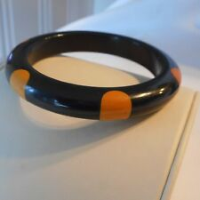 Vintage Black Bakelite Bangle Bracelet Butterscotch Polka Dot