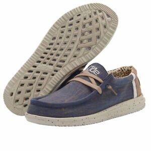 Hey Dude Wally Free Natural Blue Men's Shoe Comfortable Lightweight Slip On Shoe