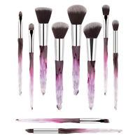10Pcs Crystal Glitter Cosmetic Makeup Brush Tools Eyebrow Shadow Face Lip Brush