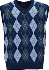 Mens V Neck Argyle Sleeveless Sweater Jumper Tank Top Jersey Golf Casual M - XXL Navy XL