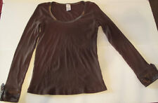 Pullover Long Sleeve Solid Brown Blouse Size M, 100% Cotton Classic Neckline