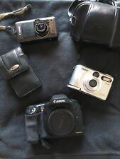LOT 3 Random Broken Cameras and Cases FOR PARTS or REPAIR Canon Vivitar Targus