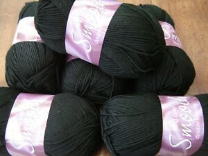6  x jet black 848  King Cole smooth double Knitting yarn free post